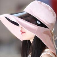 帽子女遮阳帽夏大沿UV镜片太阳帽防紫外线折叠沙滩骑车护颈帽