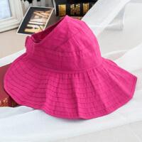 韩版帽子女夏季防晒可折叠空顶帽大檐遮阳布帽休闲太阳帽防紫外线