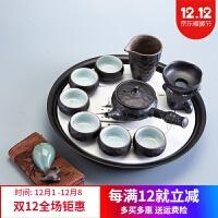 日式功夫茶具套装家用简约陶瓷茶盘粗陶喝茶茶壶茶杯整套茶道茶台 +茶盘