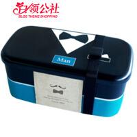白领公社 日式饭盒 上班族可微波炉加热创意可爱分格午餐盒多层分隔带叉勺学生便当盒