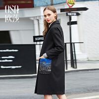 OSA欧莎冬装新品韩版西装领廓形感中长款毛呢外套D21119