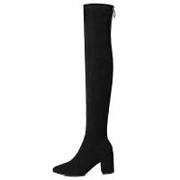 过膝靴女高跟鞋2018新款秋冬季小个子粗跟黑色弹力显瘦高筒长筒靴 黑色