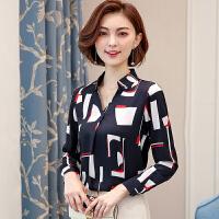衬衫 女士V领几何印花长袖OL衬衣2020年秋季新款韩版时尚女式宽松休闲女装雪纺衫