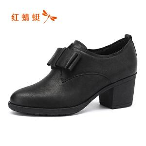 红蜻蜓17秋新品职场OL蝴蝶结深口单鞋粗跟鞋女士窝窝鞋