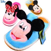 新款迪士尼米奇儿童棉拖鞋超柔鹿皮绒冬季防滑拖鞋男女童利发国际lifa88亲子款厚底拖鞋