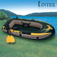 橡皮艇皮划艇加厚气垫船塑料充气船三人独木舟橡皮intex钓鱼船