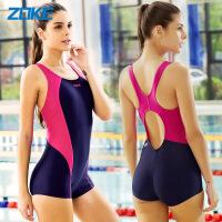 ZOKE洲克新款女士竞技类平角连体泳衣显瘦时尚大码遮肚保守专业运动游泳衣