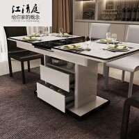 北欧多功能小户型伸缩折叠餐桌?简约现代电磁炉火锅圆餐桌椅组合 +6餐椅