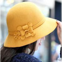韩版纯色优雅气质花朵公主帽网红同款新品英伦风女士时尚户外运动羊毛呢毡帽 小礼帽