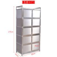 简易加厚不锈钢碗柜橱柜铝合金柜子茶水灶台柜阳台储物柜餐边柜