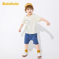 巴拉巴拉宝宝短袖套装男童裤子儿童T恤童装2020新款夏装卡通纯棉
