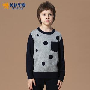 男童秋冬装新款英伦圆点羊毛针织衫中大儿童休闲圆领套头毛衣LLB1258