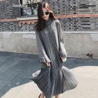 格子雪��L袖�B衣裙女夏2018春季新款�n版中�L款港味�凸�chic裙子 黑白格