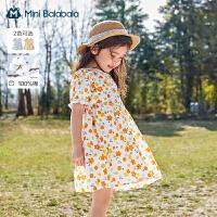 迷你巴拉巴拉儿童连衣裙2021夏季新款女童多彩花朵纯棉碎花连衣裙