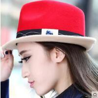 韩版撞色时尚女士毛呢小礼帽卷边短檐英伦风网红同款时尚户外运动新品羊毛毡帽子