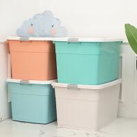 收纳盒120升 加厚塑料收纳箱特大号储物箱衣物棉被宿舍超大收纳盒玩具整理箱子L 蓝色+绿+粉+灰四个装 250L80*