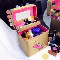 20190814072605212双层大容量韩国化妆包可爱小号方品随身便携手提收纳盒简约化妆箱