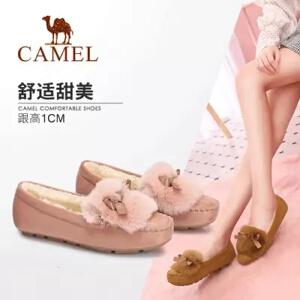 Camel/骆驼女鞋 2018冬季新品 时尚休闲平底毛毛鞋舒适保暖单鞋