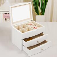 首饰盒木质简约公主欧式耳环手饰品收纳盒带镜多层情人节礼物