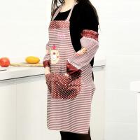 卡通小熊围裙护袖套装卡通厨房防油爱心小熊围裙 防水围裙套装送