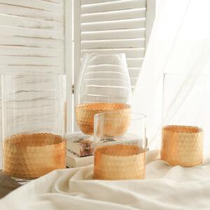 【每满100减50】幸阁 插花现代金箔直筒玻璃透明花瓶 家居摆件富贵竹花瓶
