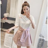 新款套装女韩版短袖T恤+条纹拼接半身裙时尚休闲显瘦两件套