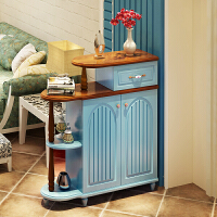 美式乡村鞋柜蓝色烤漆欧式门厅柜地中海双面隔断实木罗马柱田园 组装