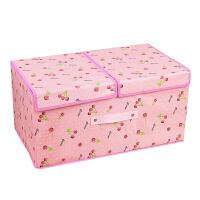 新品大号双盖防水收纳箱无纺布整理箱衣服储物箱加厚折叠收纳盒 衣服整理箱 折叠分隔箱玩具储物箱50*30*25cm