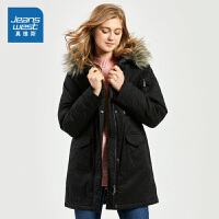 [秒杀价:95.9元,年货节限时抢购,仅限1.15-19]真维斯棉服女冬装新款女装学生宽松印花棉衣ins中长款厚外套