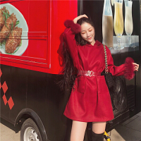 秋冬新款韩版气质连帽长袖宽松显瘦系带毛呢连衣裙A字短裙女