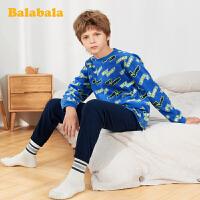 巴拉巴拉儿童睡衣男孩女孩男家居服套装摇粒绒保暖中大童两件套潮