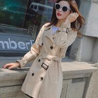 风衣女中长款2018新款春秋季韩版小个子150cm收腰显高百搭短外套 卡其色