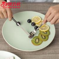 白领公社 盘子 家用饺子盘陶瓷圆盘10.5寸浅绿色餐盘菜盘西餐厅牛排盘水果盘子