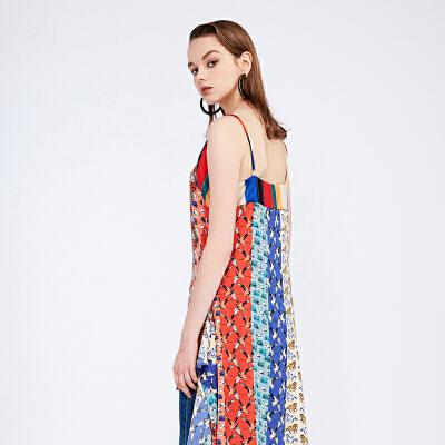 d'zzit地素 18春专柜新款条纹印花不规则吊带连衣裙长裙3F1O2102H