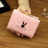 女士钱包 女 短款日韩版简约迷你学生兔子爱心小钱包零钱包钱夹