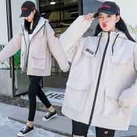 女学生韩版宽松bf中长款外套冬2018新款加厚棉衣工装羊羔毛潮