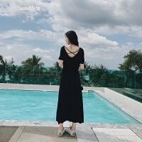连衣裙夏季2018新款女中长款漏背性感黑色显瘦沙滩裙海边度假长裙 黑色