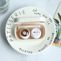 2018新款隐形眼镜盒创意卡通可爱简约伴侣盒美瞳护理盒双联盒 布朗熊(白色)