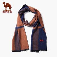 骆驼男装 冬季新款时尚保暖围脖 条纹撞色长方形商务青年围巾