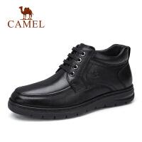 camel骆驼男鞋 秋季新款商务休闲皮靴子休闲系带牛皮鞋防滑高帮鞋