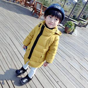 百槿 冬季男童加厚连帽中长款保暖纯色羽绒棉服 中小童加厚连帽中长款保暖侧拉链羽绒棉服