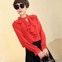 雪纺衫女长袖18春季新款韩版时尚女人味荷叶边立领短款套头打底衫