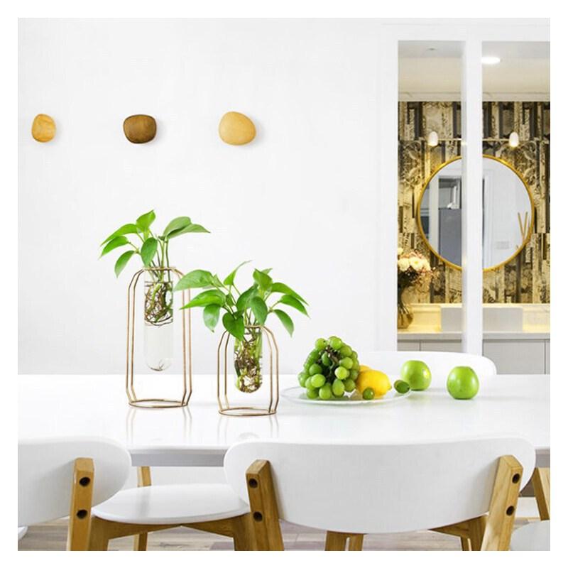 美庭 北欧插花水培透明玻璃花瓶 现代家居客厅电视柜摆件支付礼品卡 晶莹剔透 铁艺设计