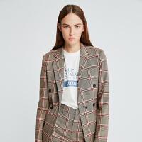 DAZZLE地素 2019秋装新款时髦通勤格纹样式西装外套女2G3F5073K