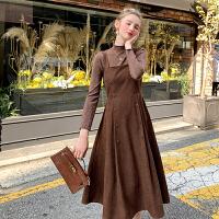 MG小象小个子气质套装女2019新款秋冬复古背带裙长袖洋气打底衫潮