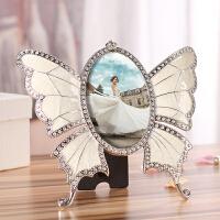 欧式相框摆台件 镶钻蝴蝶创意个性5寸架结婚纱礼婴儿宝宝小孩照片 炫目银 5寸(9*13cm)