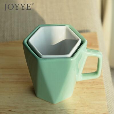 #亲爱的客栈同款#   JOYYE 棱形简约纯色陶瓷水杯不规则杯口马克杯创意情侣杯陶瓷杯对杯棱角浮生 手心的人生