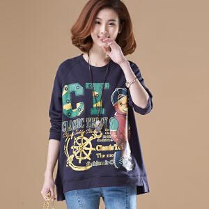 【仅限今日,满100减50】原创大码韩版休闲卡通印花套头卫衣宽松长袖上衣女装秋装NR246-1782