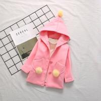 女童装外套2017新款中小童毛毛球连帽开衫上衣宝宝中长款呢子衣 粉红色