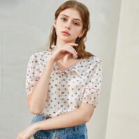 秋水伊人短袖衬衫2019夏新款女装设计感小众复古港味雪纺上衣女